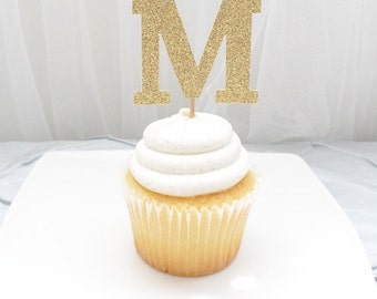 CUSTOM uppercase letter / monogram cupcake topper SET of 12 - customize letters, birthday, wedding, baby, celebration, party decor