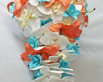 Aqua/pool/blue/turquoise, peach/coral/orange, cascade/cascading, Bouquet, Real Touch Flowers, Bride, Groom, wedding, set, orchids, lilies