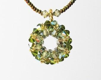 Christmas Wreath Necklace, Swarovski Crystal Pendant Necklace, Green Crystal Pendant, Christmas Jewelry, Christmas Gifts / Wreath N-002