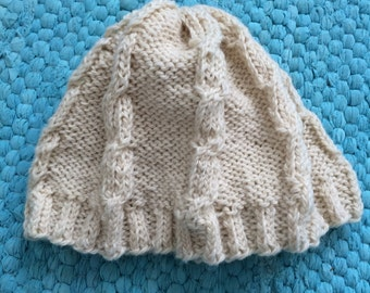 Hand Knit Cable Beanie, Made to Order, Choose your Color