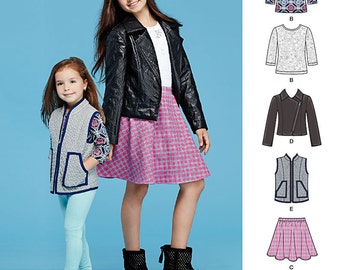 Simplicity 8027 Girl's Jacket, Vest, Skirt, Knit Top and Leggings. Size 7-14.  Pattern is new and uncut.