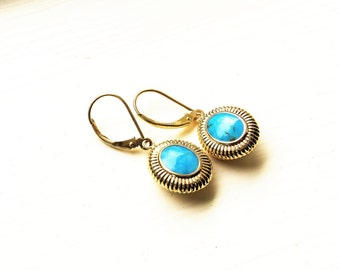 Vintage Turquoise 14kt Gold Earrings