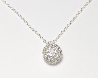 Rhinestone Ball Necklace/Silver Ball Necklace/Silver New Years Eve Ball Necklace/Silver Ball Drop Necklace