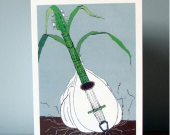 Garlic. Mandolin. Birthday Card for Musician. Food Illustration. Thank You Card for Music Teacher. Vegetable. Food Lover Anniversary Card