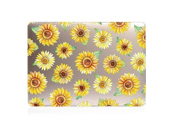 HARD CLEAR PLASTIC Macbook Case Design with sunflowers print for MacBook Pro Retina Display and MacBook Air Case