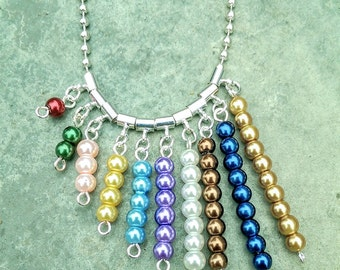 "Montessori Bead Bar - Child's or Adults Gift Necklace, 20""to 36"" Long. Customize it yourself!"