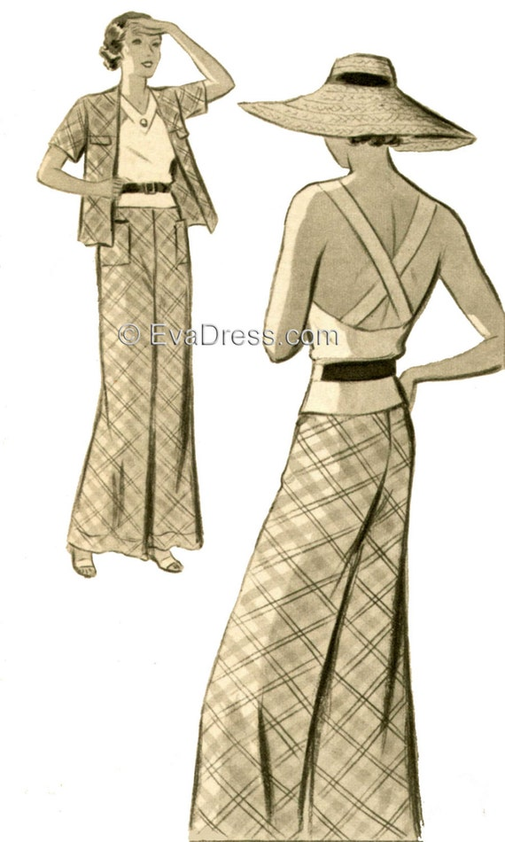 1930s House Dresses 1935 3-piece Beach Ensemble EvaDress Pattern $28.00 AT vintagedancer.com