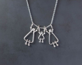 Mom daughter jewelry - Mom daughter - Silver jewelry
