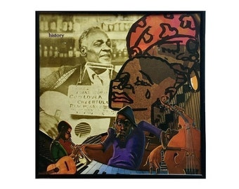 Original Vinyl Record Cover Collage Art, Black History, African American Music, Mixed Media Artwork, Album Cover Upcycle