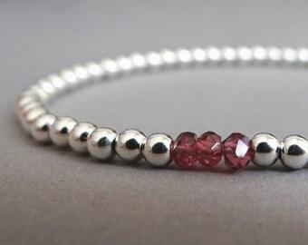 Garnet and Sterling Silver Beaded Bracelet, Birthstone Bracelet, January Birthstone, Customisable Bracelet, Layering Bracelet, UK Jewellery