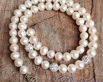 Sea Pearl Necklace Rhinestones Shambala Beads, Off White Cream Ivory 925 Sterling Silver Clasp / IN STOCK