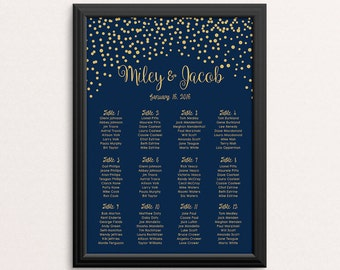 Wedding Seating Chart, Gold Confetti Navy Blue, Minimalist Wedding Table Number, Nautical, Gold sparkles, Personalize, Printable, Rush