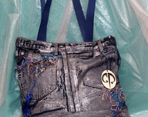 Denim artistic bag, Jeans shoulder bag, Denim Tote bag, Unique handmade bag