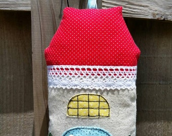 Tooth Fairy House Pillow, Red Aqua Stately