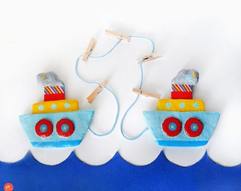 Kids Art Display, Boats Display Hanger, Artwork Display, Kids Artwork, Nautical Art, Papier Mache Boat, Boy Room Decor, Nursery Room Decor