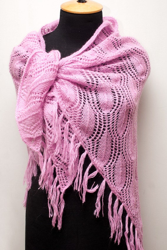 Knitted mohair pink shawl with tassels boho shawl by SanniKnitting