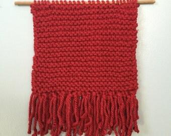 Red Knitted Wall Hanging / Monochromatic Knitting / Fiber Art