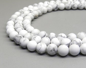 Howlite Beads, Matte Howlite, 8mm Beads, Frosted Beads, White Howlite, White Beads Natural Gemstones 8mm Gemstone Beads, White Howlite Beads