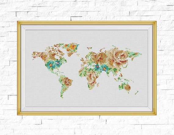 Bogo free world map cross stitch pattern floral map silhouette world map cross stitch pattern floral map silhouette flowers counted cross stitch chart modern decor pdf download 025 17 1 from stitchline on etsy studio gumiabroncs Images
