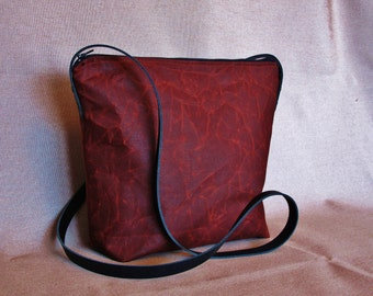 Russet waxed canvas cross body bag, Shoulder bag, real leather, oilskin bag, waxed canvas purse
