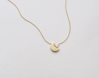 Moon Star Necklace, Delicate Minimalist Necklace in Sterling Silver, Gold, Rose Gold #D97