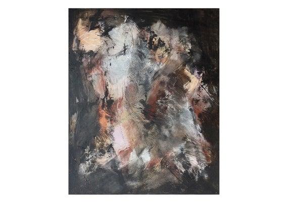 Tableau peinture noir blanc beige relief vertical texture for Peinture noire tableau