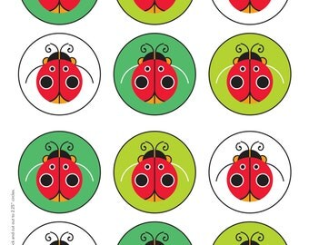 Ladybug Printable Cupcake Toppers and Cupcake Wrappers