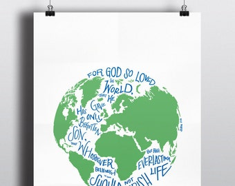 John 3:16 DIGITAL DOWNLOAD - For God So Loved The World Map Illustration and Scripture Quote (Includes 3 file sizes! 8x10,10x10,16x20)