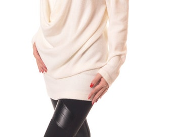 Plus Size Tunic Top, Extravagant Top, Long Sleeved Tunic, Asymmetrical Tunic, Champagne Elegant Blouse, Designer Blouse, Danellys D14.08.01