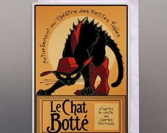 Postcard Puss in Boots 1910 noir, postcard le chat noir, vintage cat ads, vintage black cat prints, Paris vintage cat postcards, Paris ads