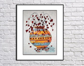 Completed counted cross stitch picture Pots of love Textile art Completed scenery handmade embroidery design Finished needlepoint Modern