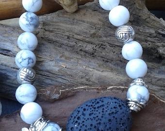 67) Bracelet parfait pour aromathérapie - howlite - Lava - Mantra OM
