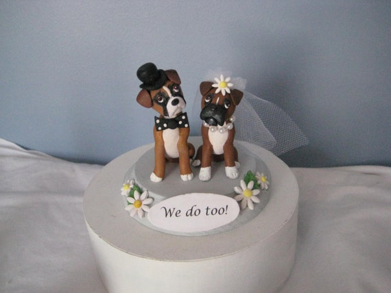 wedding cake topper with boxer dog items similar to boxer dogs wedding cake topper 10 26654