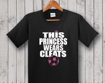 Soccer YOUTH T-shirt, Black - Glitter, This Princess Wears Cleats, Birthday Gift, Goddaughter Gift, Niece Gift
