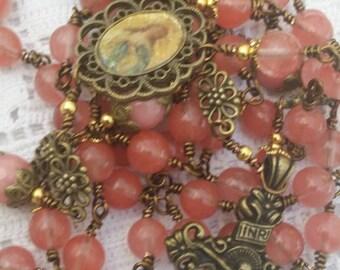 Morganite, Tourmaline,  Mary Queen of heaven,  Medallion, Spanish inspired, 5 decade Rosary