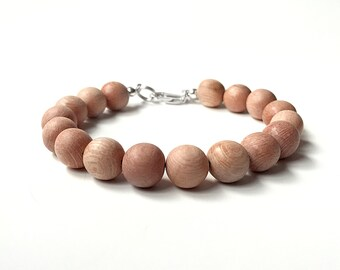 Rosewood Bead Bracelet - 10mm Beads - Wooden Ball Bracelet - Sterling Silver or 14k Gold Fill - Oil Diffuser Jewelry