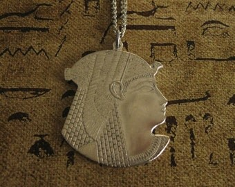 Silver Pharaoh Necklace Pharaoh Head Egyptian Necklace Egyptian Jewelry Egyptian Revival Pharaoh Jewelry Egyptian Handmade Vintage unisex