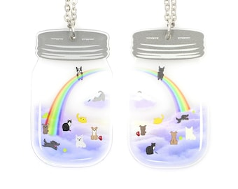 Heaven in a Jar - The Rainbow Bridge - Mason Jar Pet Memorial Necklace - Dogs and Cats