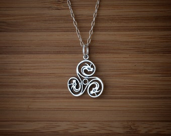 Celtic Dragon Triskelion - Triskele - Targaryen Three-headed Dragon - STERLING SILVER - (Charm, Necklace, or Earrings)
