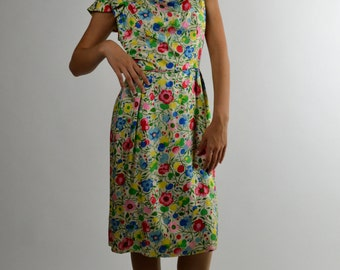 Silk Dress, Floral Dress, Wiggle Dress, Preppy Dress, Summer Dress, 50s Dress, Spring Dress, Party Dress, Dress Sale