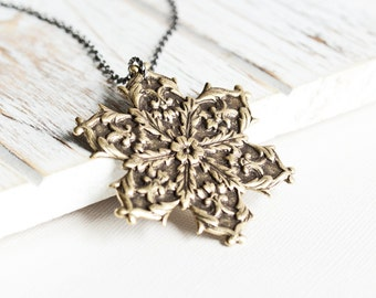 Large Snowflake Necklace - Antiqued Brass Snowflake Pendant with Gunmetal Chain, Long Necklace, Two Tone Necklace, Rustic Winter Jewelry