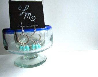 Blue Amazonite Petite Hammered Sterling Silver Hoop Earrings by LM-inspired