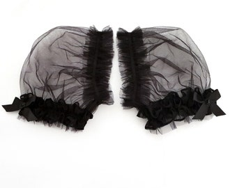 INESS Fairy Tale Black tulle Ruffled puff sleeves , Victorian cup sleeves