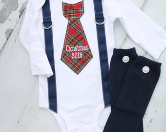 Christmas 2016 Holiday Personalized Plaid Tie and Suspender Bodysuit, with Pants or Leg Warmers Baby's 1st Christmas Navy Blue Red Plaid