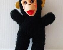 Vintage monkey plush doll stuffed animal rubber face 1950's Gund