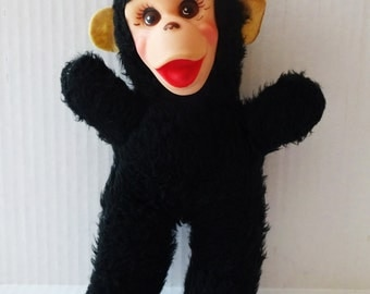 Vintage monkey stuffed animal rubber face 1950's Gund plush doll
