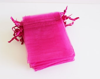 """Hot Pink Organza Bags 3 1/2"""" x 4 1/2"""" Favors 20+ Pieces Weddings / Party Favors / Baby Showers / Craft Show Supplies"""
