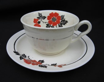 PRICE REDUCED:  Hall Red Poppy Cup & Saucer Set