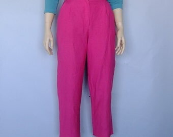 cropped pants, high waisted pants, pleated pants, 80s clothing, linen trousers, high waisted trousers