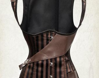 New UnderBust Steampunk corset Striped corset pirate steampunk corset